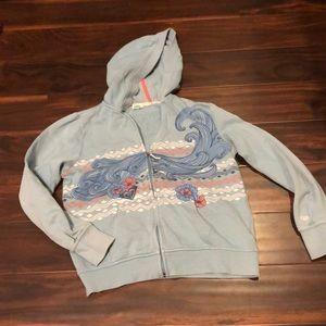 Roxy girl blue hooded sweatshirt size Large.